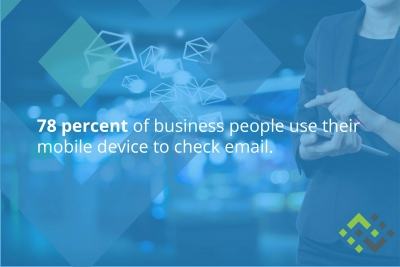 78 percent of business people use their mobile device to check email.